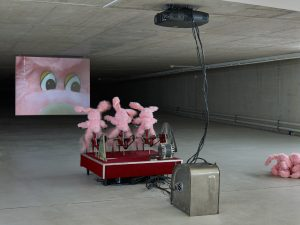Cinema (2006) / Steel, paint, stainless steel, c/b cloth, wood, faux fur, plastic, sewing / 300 x 250 x 500 cm