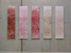 Dolce Vita Red 48466 (2008/2011) / lipstick on canvas / each: 240 x 60 cm